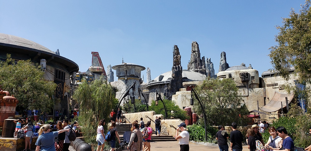 buildings an spires of Galaxys Edge Disneyland taken by Disabled Disney