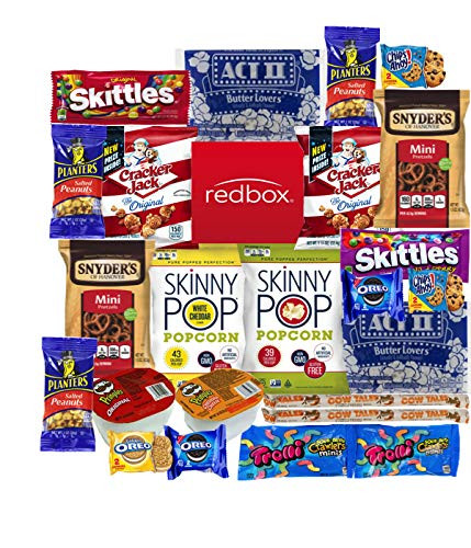 movie snakcs like skittles, act 2, planters, chips ahoy and others