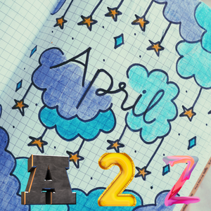 a notebook page with clouds and stars and the word April written out with A 2 Z on the bottom