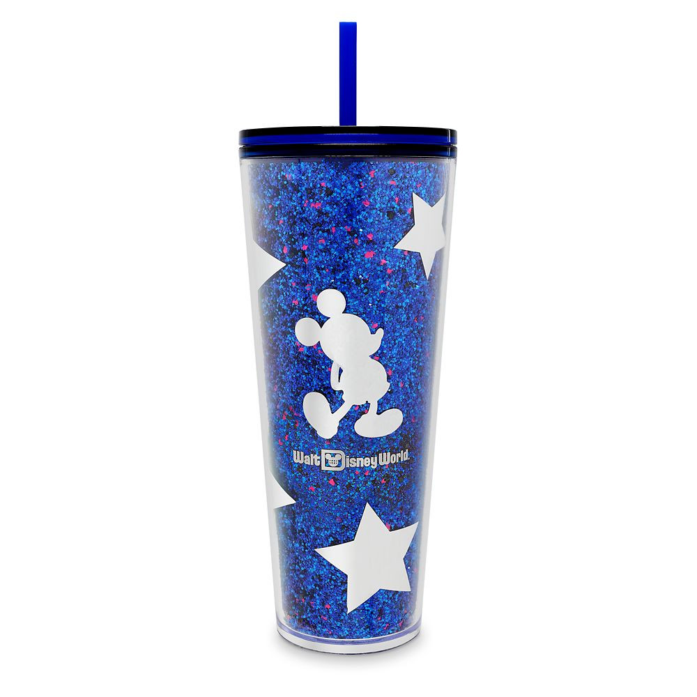 Blue and white 24oz cup has Mickey Mouse and Stars says Walt Disney World