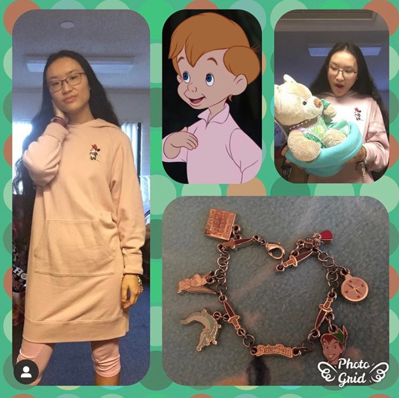 photo grid: on left girl wearing a dress on bottom a charm bracelet, left on top Michael from Peter Pan, right on top girl holding a bear