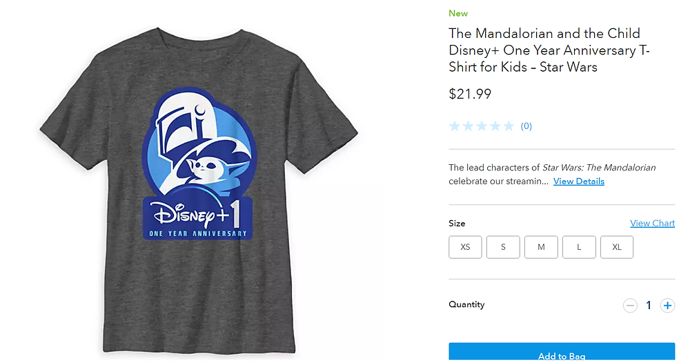 scrrenshot from ShopDisney has a shirt that is grey with the Madalorian helmet and The Child and says Disney+1