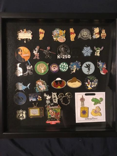 various pins in a shadowbox