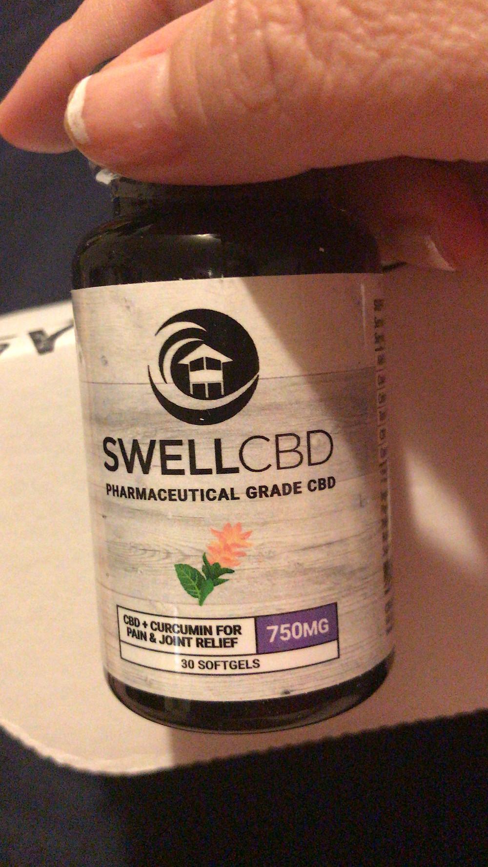 a bottle of CBD Gel Caps