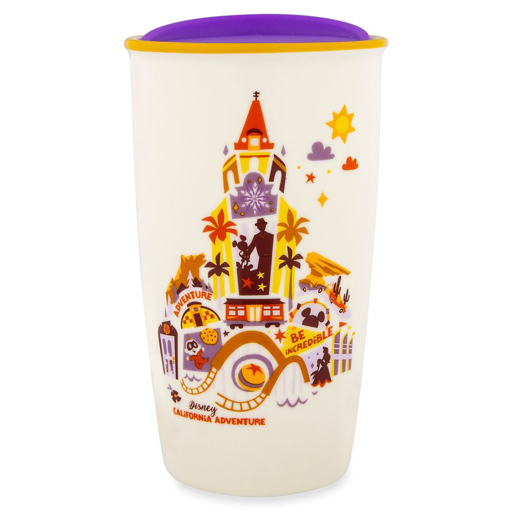 white cup with a yellow and red design featuring Disney's California Adventure Icons and says Disney California Adventure