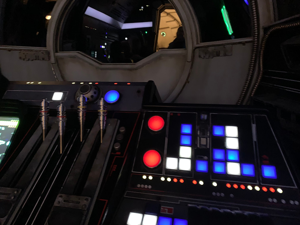 Disabled Disney buttons and levers of the Right Side Pilot for Smugglers Run