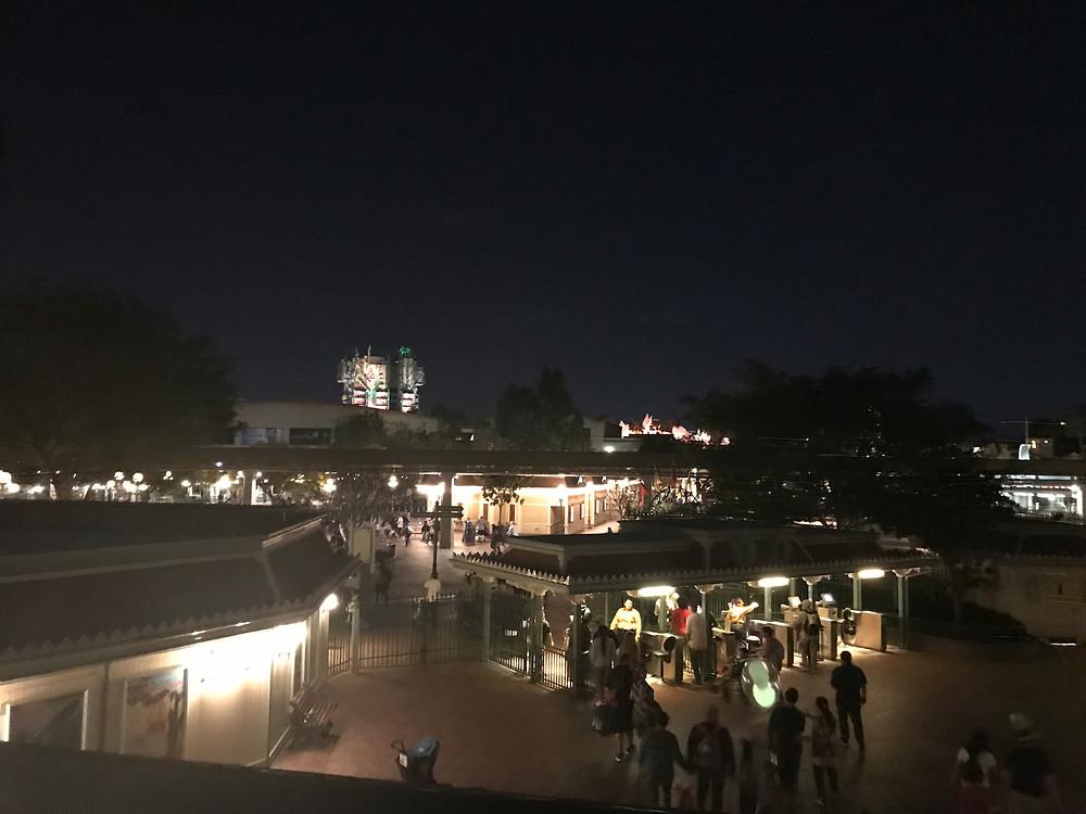 The Disneyland Park exit gates at night