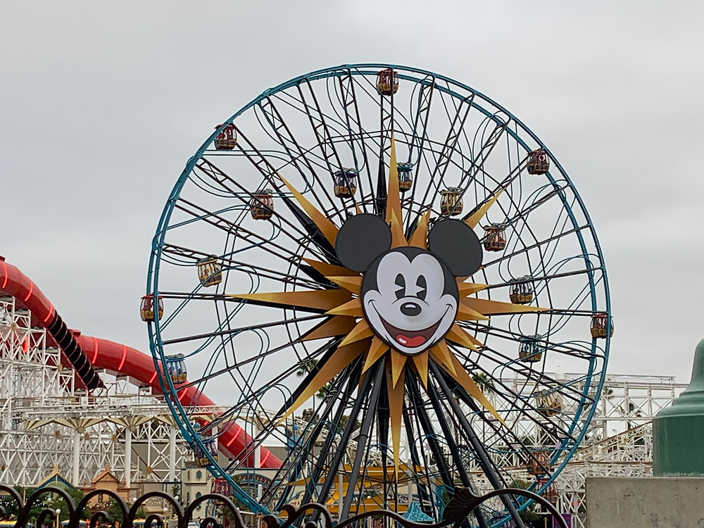 it is a ferris whell with Mickey Mouse on it at Disney's California Adventure Park