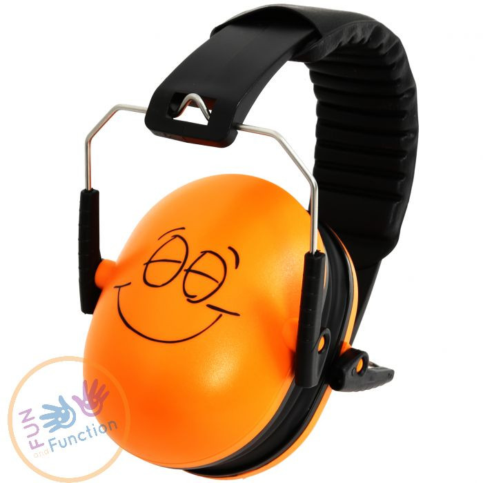 headphones orange and black with a smiley face