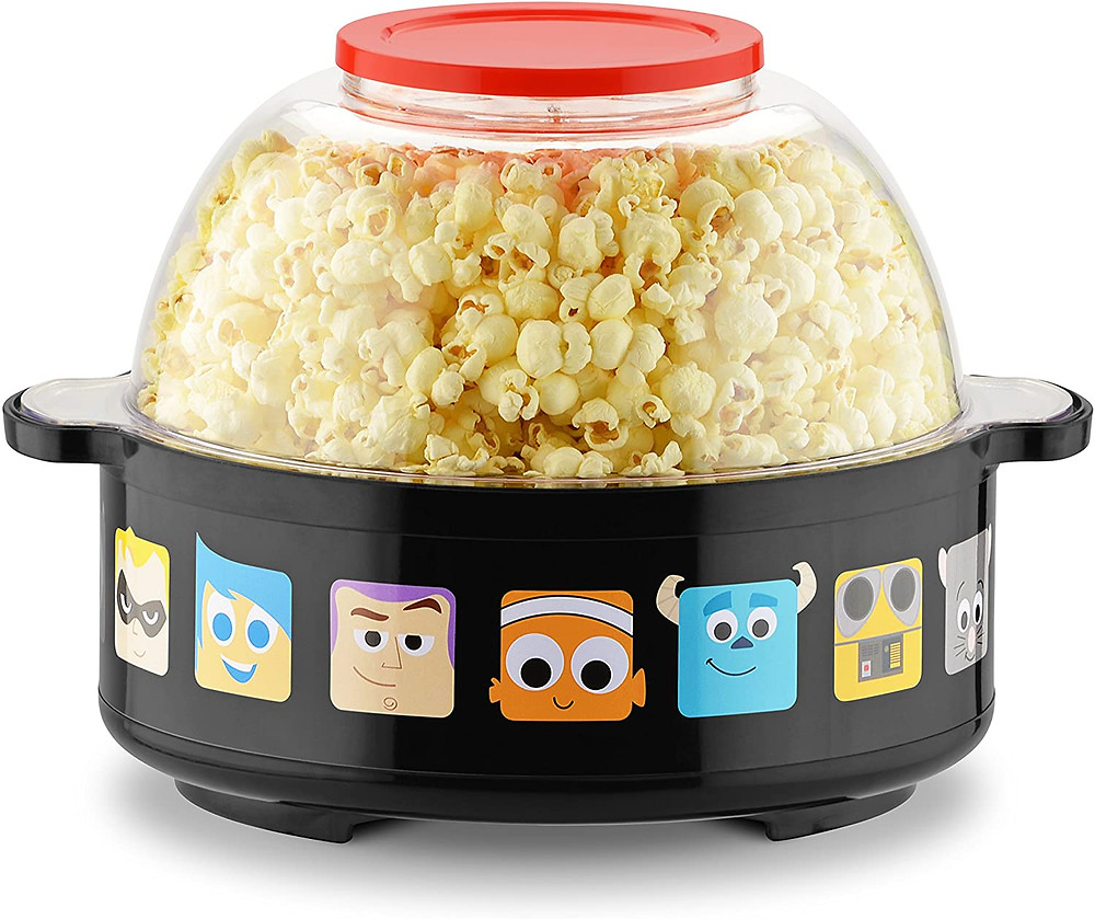 blac popcorn popper with faces of Pixar characters