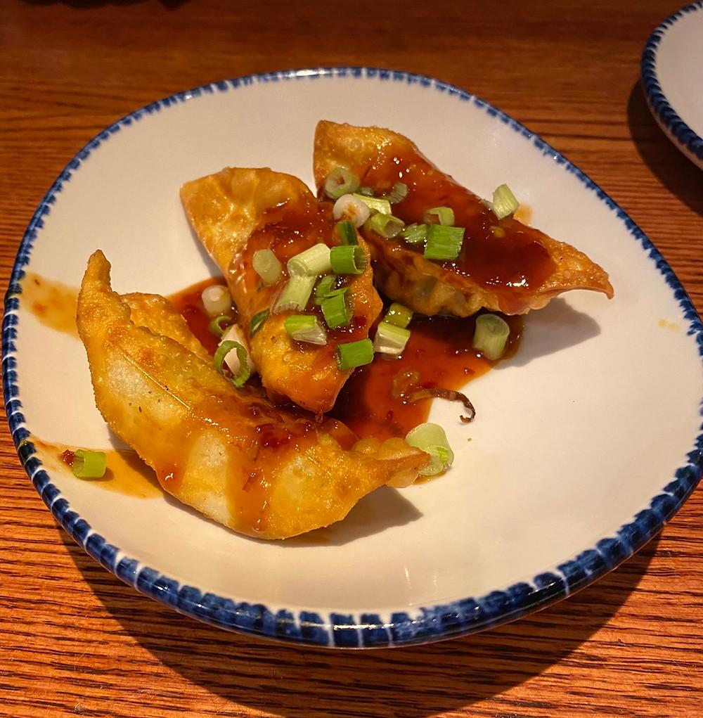 it is 3 potstickersa dumpling that is deep fried