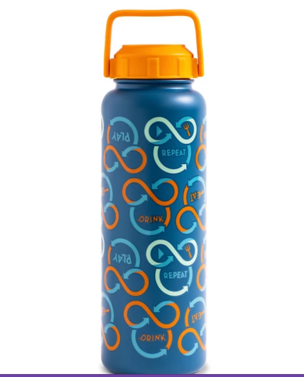 Blue water bottle with Mickey shapes says Drink, Play, Repeat