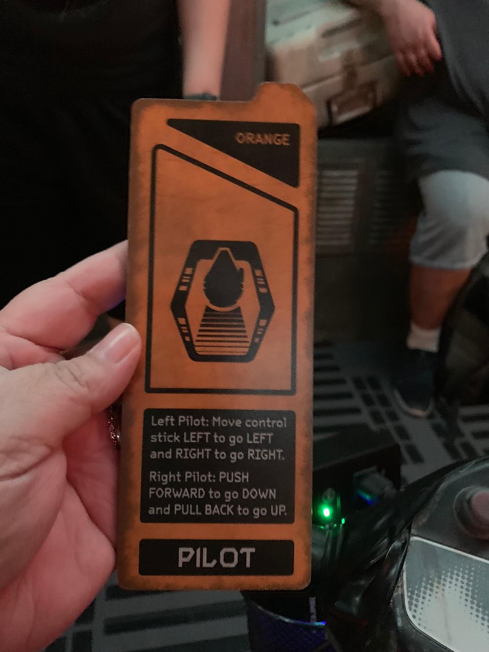 Disabled Disney Orange and black card describing Pilot job