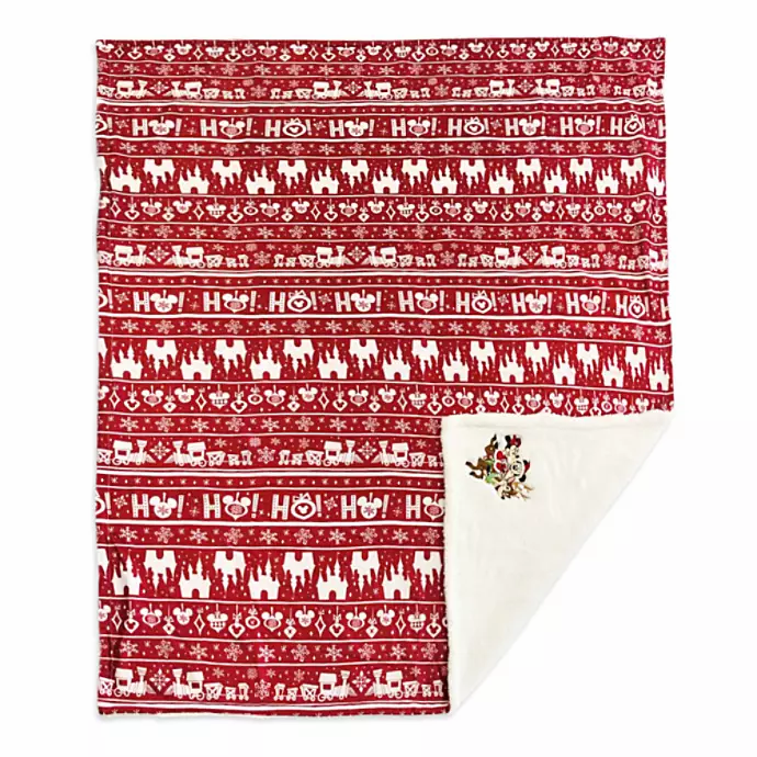 red and white fleece throw says Ho! and has Mickey shapes and Castle shapes