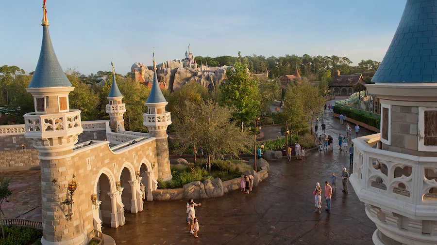 Cinderella Castle and a few people in Fantasyland
