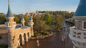 Cinderella Castle and a few people in Fantasyland