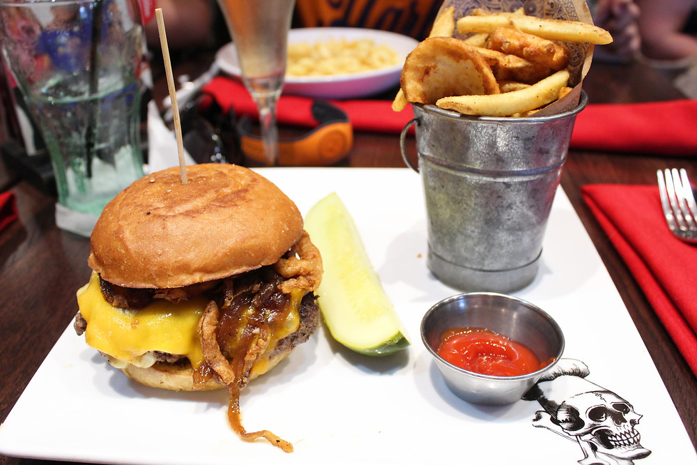 burger and fries from Planet Hollywood Orlando, FL near Disney World