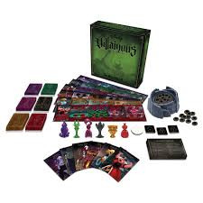 Green box, cards and pieces from Villianous