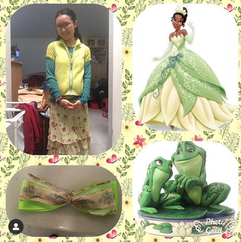 a photo grid. upper left a girl wearing green clothing. upper right Tiana. lower left a green bow lower right Tiana and Prince Naveen as frogs