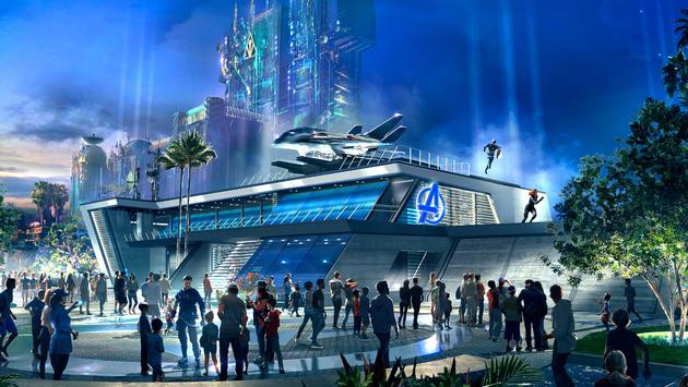 Avengers building and people in a sketch proposed by Disney