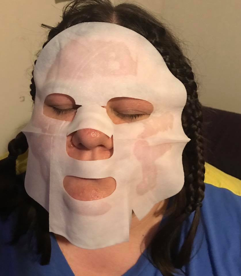 woman with a beauty mask on her face disabled self care