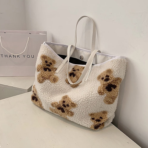 Cute Bear Pattern Soft Plush Women Shoulder Bag