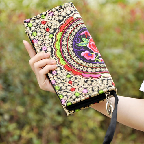 Small Embroidered Mobile Phone Wallet