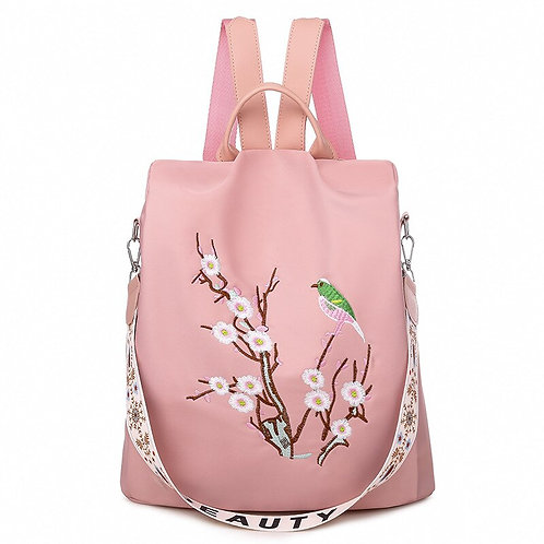Oxford Cloth Casual Ladies Backpack Embroidery