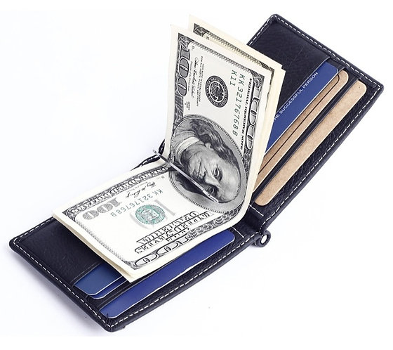 Solid Slim Money Clips Genuine Leather Purse