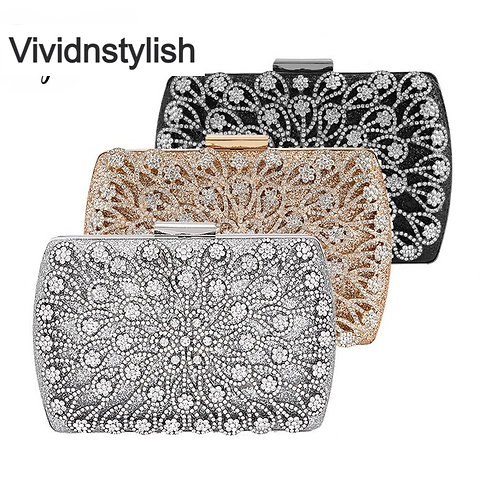 Silver Crystal Clutch Bag for Ladies