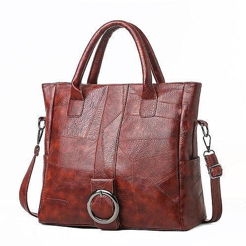 Stitching Soft Leather Large-Capacity Travel Handbag