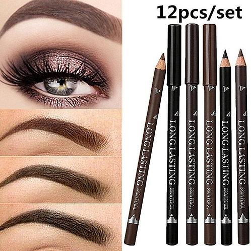 12pcs Waterproof Eye Brow Pencil Black Brown