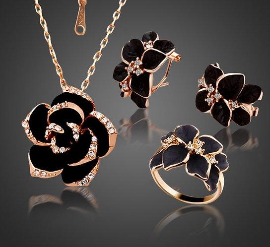 Rose Flower Enamel Jewelry Set