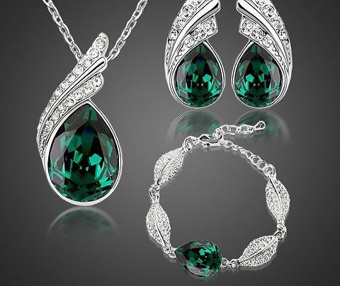 Bridal Jewelry Set  Austrian Crystal Fashion Leaf Tear Feather