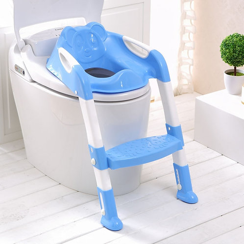 2 Colors Folding Baby Toilet Training Seat With Adjustable Ladder