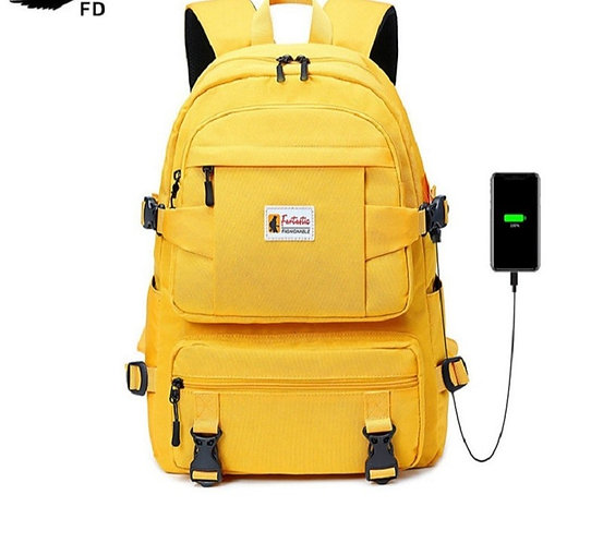 Fashion Yellow Backpack for Girls Waterproof