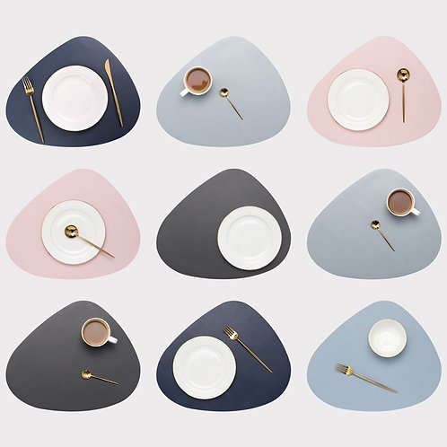 Leather Placemat Tableware Pad Oil Water Resistant Heat Insulation