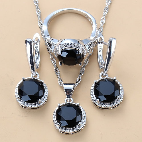 Silver Wedding Jewelry Sets Black Zircon Dangle