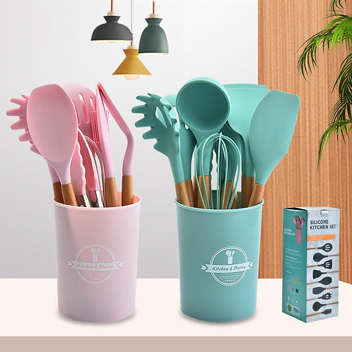 11/12pcs Silicone Cooking Utensils Set Non-Stick Spatula