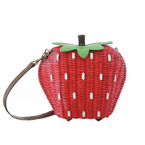 Straw Summer Beach Shoulder Bag Lady Strawberry
