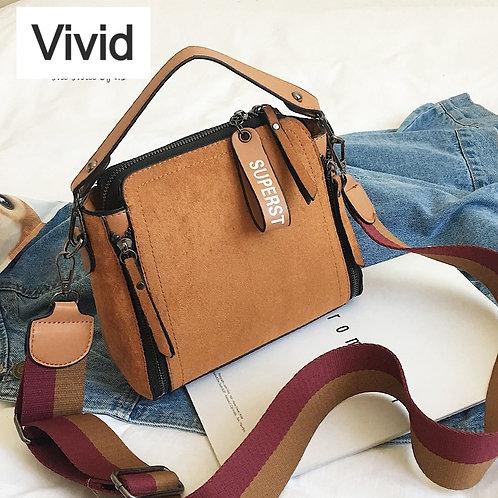 Scrub Leather Shoulder Casual Vintage Ladies Crossbody Bag