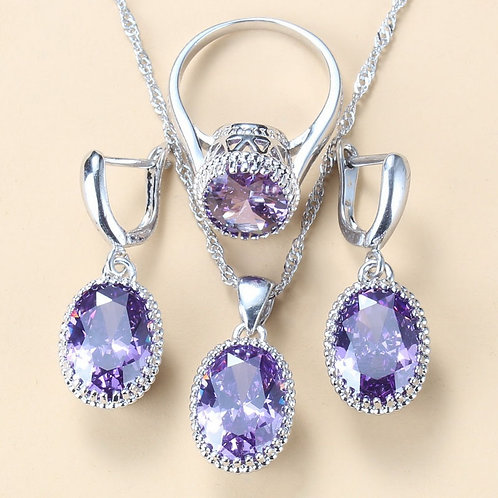 Silver 925 Wedding-Engagement Jewelry Sets