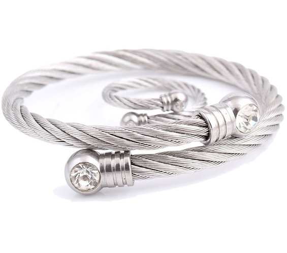 Newest Adjustable Bracelet and Ring for Women Stainless Steel