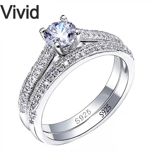 CC 925 Silver Rings for Women Simple Design Double Stackable