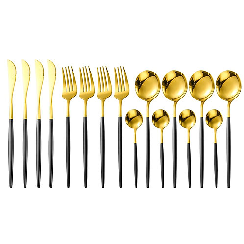 16Pcs/Set 18/10 Stainless Steel Black Gold  Cutlery Set