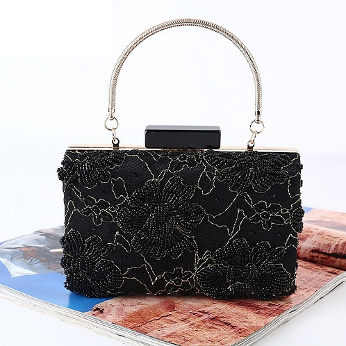 Beaded Flowers Handbags With Money Purse
