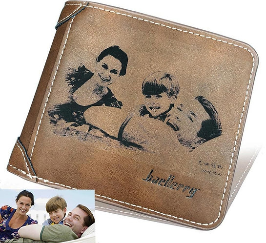 Photo Engraving PU Leather Men Wallets
