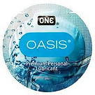"""Lube packet with blue water design, labeled Oasis and """"Premuim Personal Lubricant"""""""