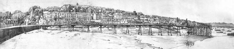 """""""Submarine Pier, Falmouth"""" Etching 
