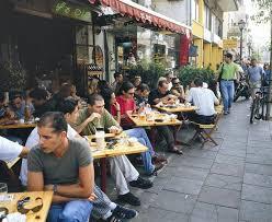 Eating on the streets of Tel Aviv